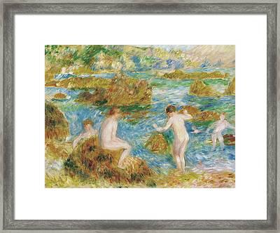 Garcons Nus Dans Les Rochers A Guernsey, 1883 Framed Print by Pierre Auguste Renoir