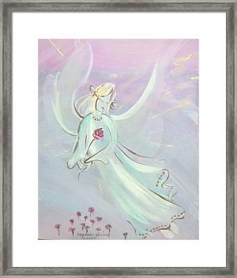 Garden Angel Framed Print by Rosemary Babikan