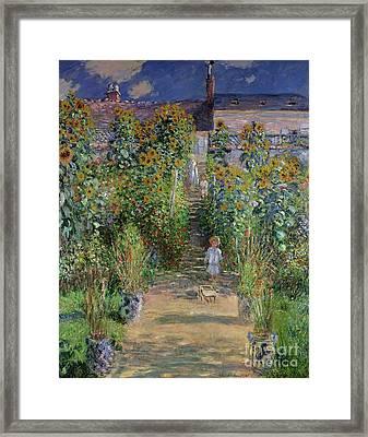 Garden At Vetheuil Framed Print by Claude Monet
