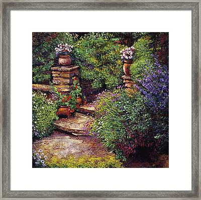 Garden At Villa Verona Framed Print by David Lloyd Glover