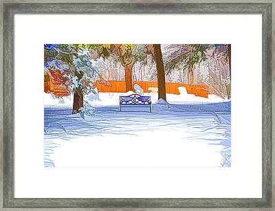 Garden  Bench With Snow Framed Print