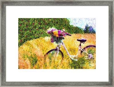 Garden Bicycle Print Framed Print by Tina LeCour