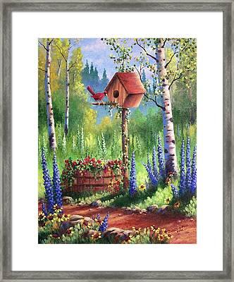 Garden Birdhouse Framed Print by David G Paul