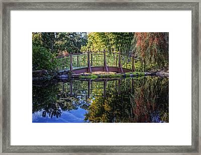 Garden Bridge Framed Print by Debra and Dave Vanderlaan