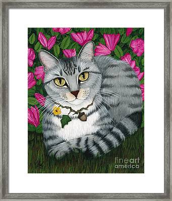 Framed Print featuring the painting Garden Cat - Silver Tabby Cat Azaleas by Carrie Hawks