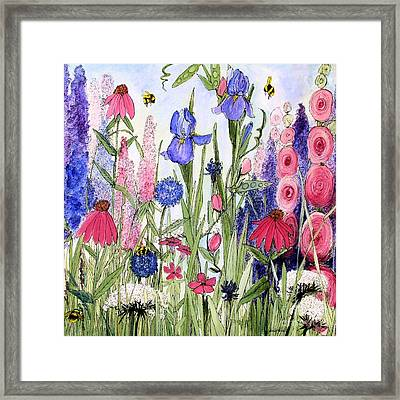 Garden Cottage Iris And Hollyhock Framed Print