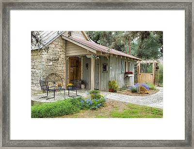 Framed Print featuring the tapestry - textile Garden Cottage by Kathy Adams Clark