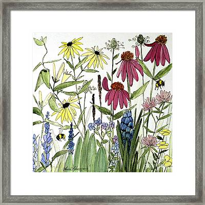 Garden Flowers With Bees Framed Print