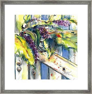 Garden Gate In Fall With Poke Berries  Framed Print