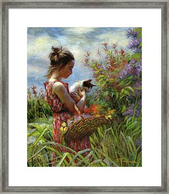 Framed Print featuring the painting Garden Gatherings by Steve Henderson