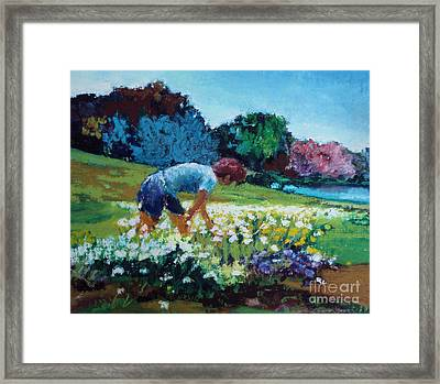 Framed Print featuring the painting Garden Girl by Diane Ursin