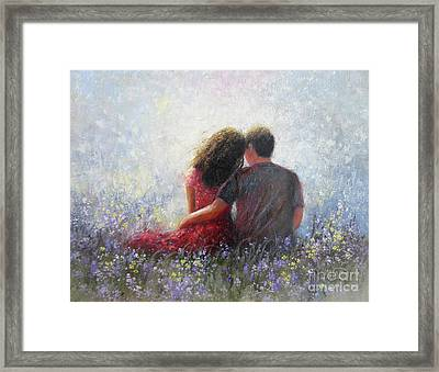 Garden Hugs Lovers Framed Print by Vickie Wade