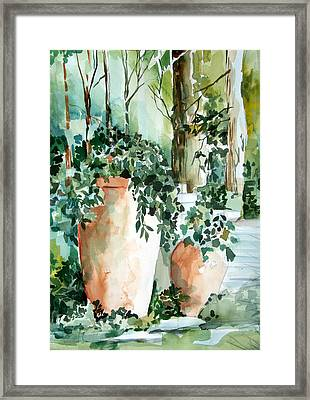 Garden In Capri Framed Print by Mindy Newman