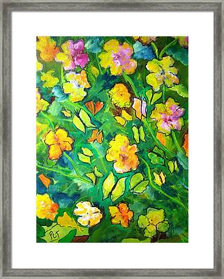 Garden Of Happiness With Butterflies Framed Print by Patricia Taylor