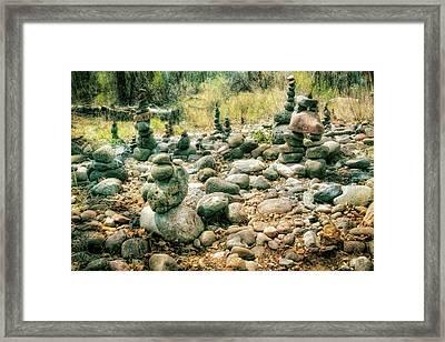 Garden Of Rock Cairns At Buddha Beach - Sedona Framed Print