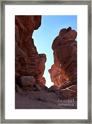 Garden Of The Gods, Colorado Springs, Red Rocks Sun Rising Framed Print by Adam Long