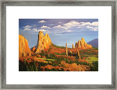 Garden Of The Gods Framed Print by Connie Tom