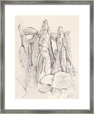 Garden Of The Gods Pulpit Rock Ink On Toned Paper  Framed Print