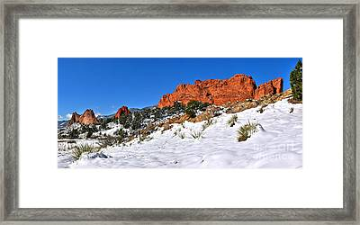 Framed Print featuring the photograph Garden Of The Gods Red And White by Adam Jewell
