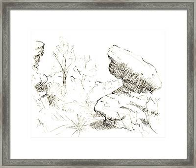 Garden Of The Gods Rocks Along The Trail Ink Drawing By Adam Lon Framed Print