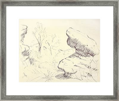Garden Of The Gods Rocks Along The Trail Ink Drawing On Toned Pa Framed Print