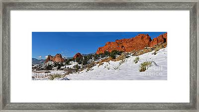 Framed Print featuring the photograph Garden Of The Gods Snowy Blue Sky Panorama by Adam Jewell