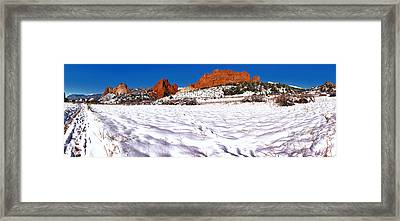 Framed Print featuring the photograph Garden Of The Gods Snowy Morning Panorama by Adam Jewell