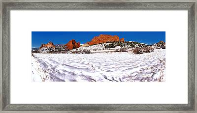 Framed Print featuring the photograph Garden Of The Gods Snowy Morning Panorama Crop by Adam Jewell
