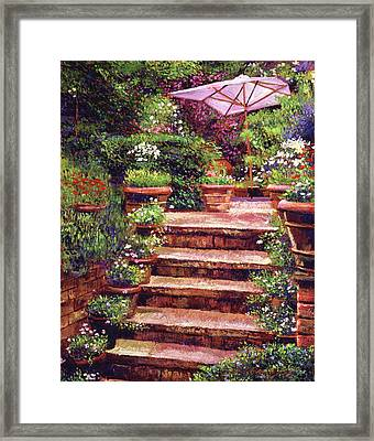 Garden Patio Stairway Framed Print by David Lloyd Glover