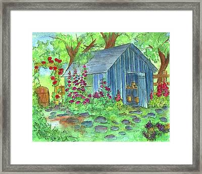 Framed Print featuring the painting Garden Potting Shed by Cathie Richardson