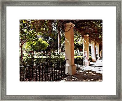 Framed Print featuring the photograph Garden Promenade - San Fernando Mission by Glenn McCarthy Art and Photography