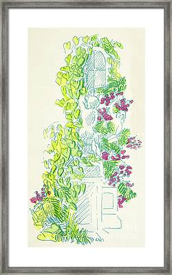 Garden Scene With Statue Framed Print