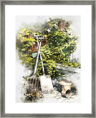 Framed Print featuring the digital art Garden Seat by Shanina Conway