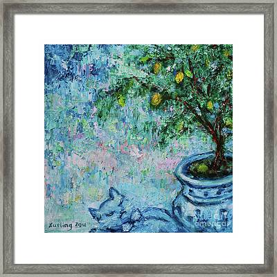 Framed Print featuring the painting Garden Sleeping Cat by Xueling Zou