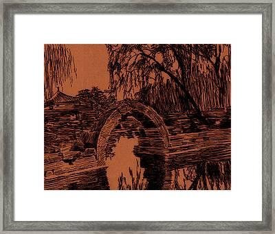 Garden Sunset Framed Print by Robbi  Musser