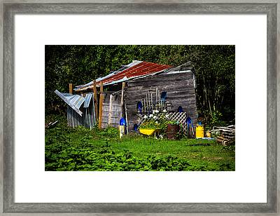 Garden Tool Shed Framed Print by Garry Gay