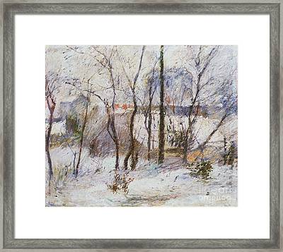 Garden Under Snow Framed Print