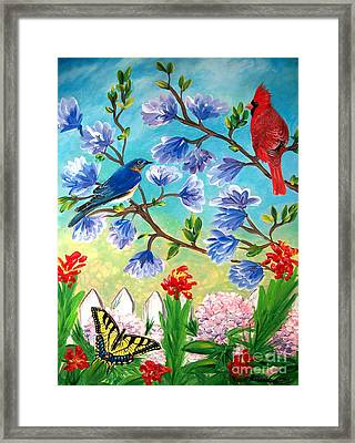Garden View Birds And Butterfly Framed Print