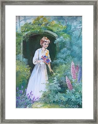 Garden Walk - B Framed Print by Val Stokes