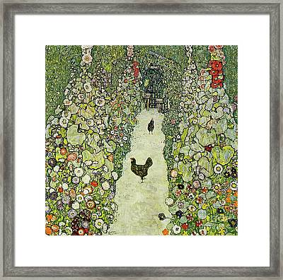 Garden With Chickens Framed Print