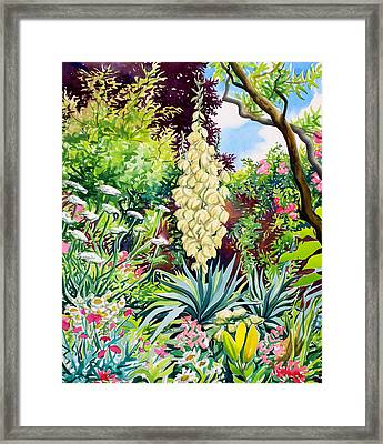 Garden With Flowering Yucca Framed Print