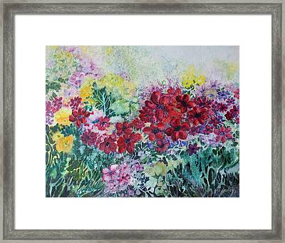 Framed Print featuring the painting Garden With Reds by Joanne Smoley