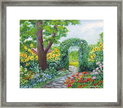 Garden With Sunflowers Framed Print by Lois Mountz
