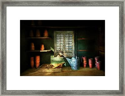 Framed Print featuring the photograph Gardener - The Potters Shed by Mike Savad
