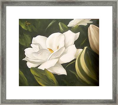 Framed Print featuring the painting Gardenia by Natalia Tejera