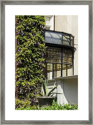 Gardening Delights - Wisteria Aloe Vera And A Stained Glass Canopy - Right Framed Print by Georgia Mizuleva