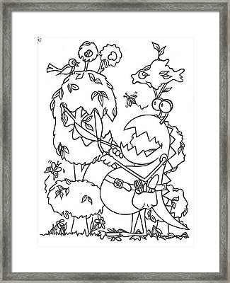 Gardening Monster Framed Print