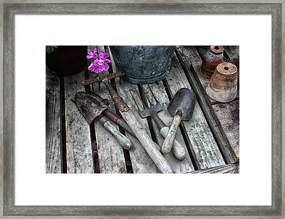 Gardening Tools Framed Print by Martin Newman