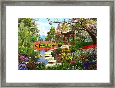 Gardens Of Fuji Framed Print by Dominic Davison