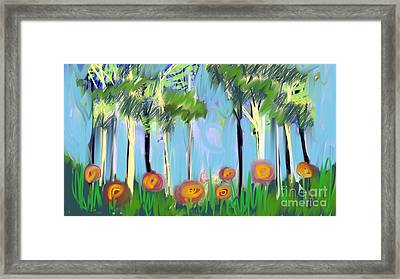 Framed Print featuring the digital art Gardenscape 1 by Elaine Lanoue